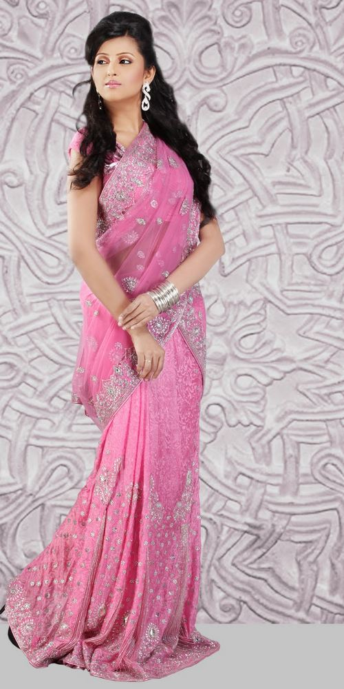 pink colour saree