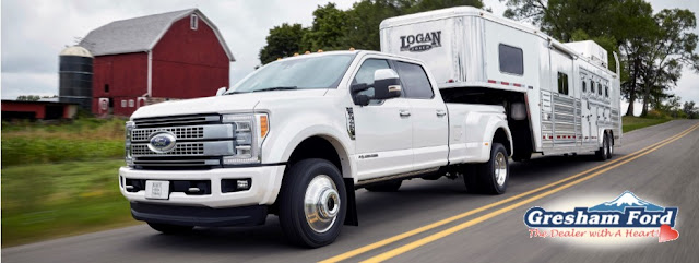 2017 Ford Super Duty pulling Horse Trailer available at Gresham Ford