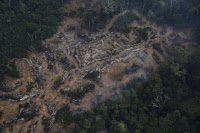 An aerial view of a deforested plot of the Amazon at the Bom Futuro National Forest in Porto Velho, Rondonia State, Brazil, September 3, 2015. (Credit: Reuters/Nacho Doce) Click to Enlarge.