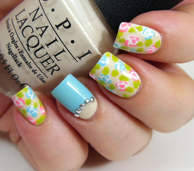 spring flower nail art