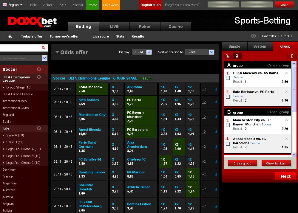 Doxxbet Sportsbook Screen