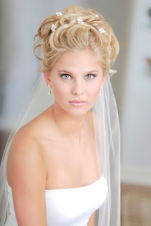 bride hairstyles veil flowers
