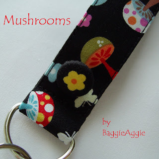 Fun and funky 'Mushrooms' keyring / wrist fob in black, pink, red, blue, yellow and more.