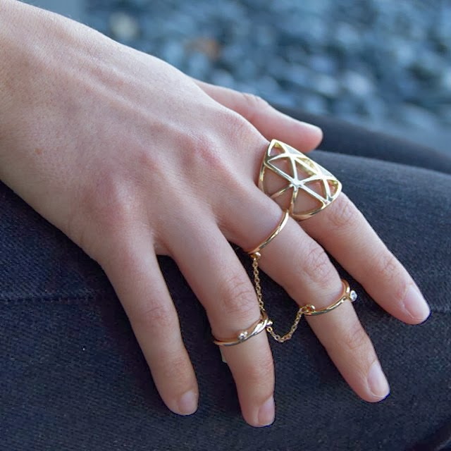 Express rings, geometric cut out, anchor and knot midi ring, double chain stacking ring