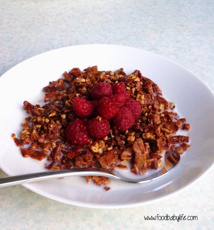 Chocolate Granola with raspberries © www.foodbabylife.com