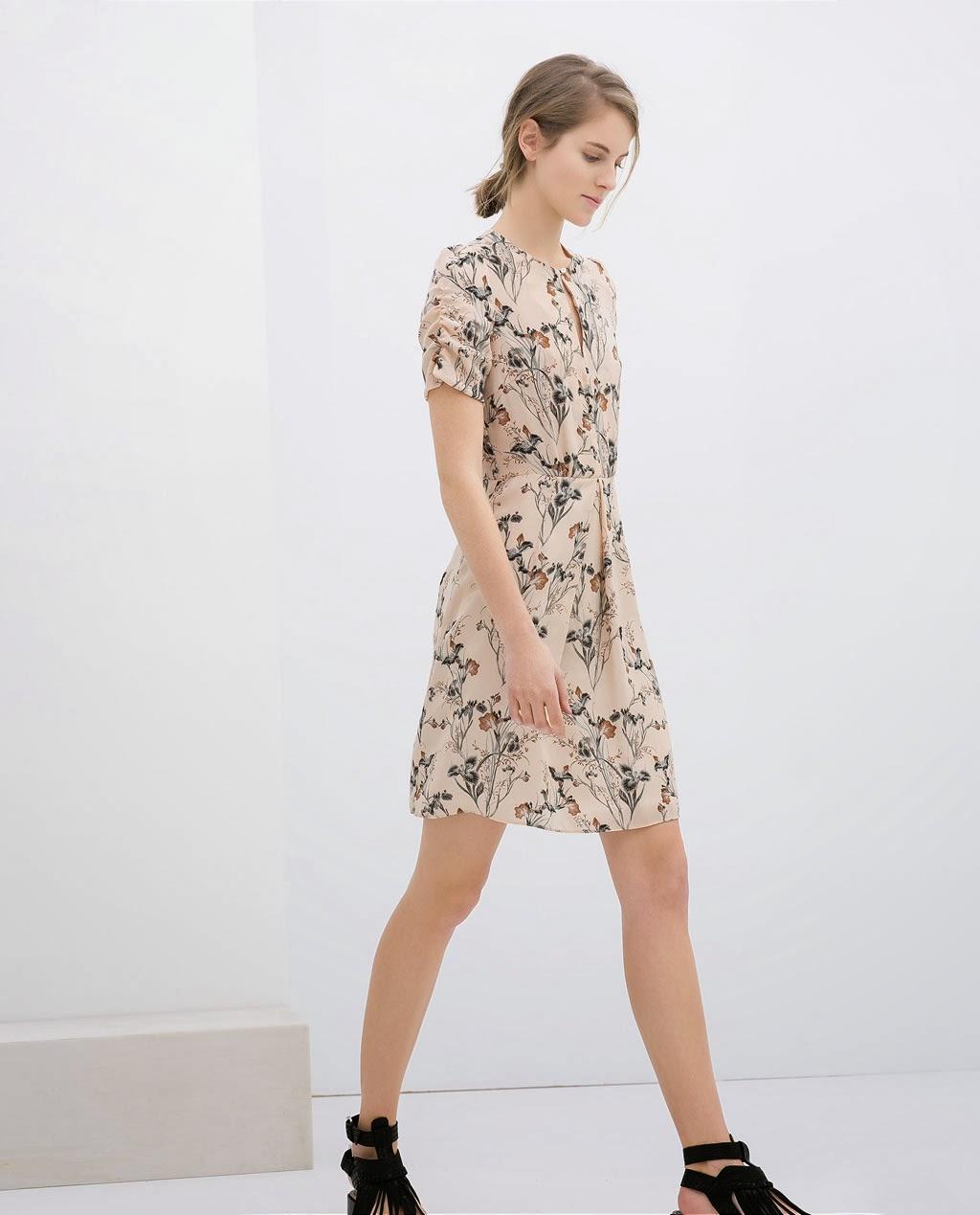 çiçekli elbise, kısa elbise, krem elbise