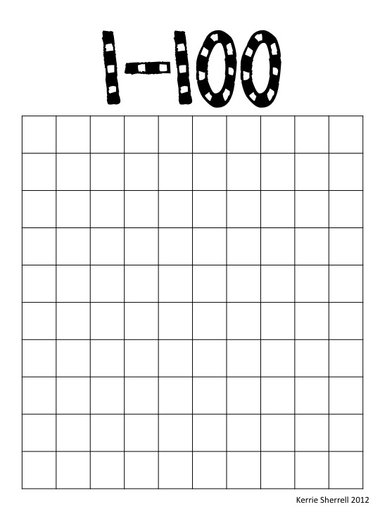 Printable Blank 100 Number Chart | 2016 Car Release Date