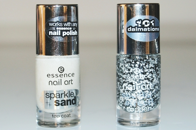"""ESSENCE 2015 makeup haul (lipglosses, mascaras, nail polishes...).Essence sminka 2015.Essence nail art top coats: """"Sparkle sand"""" in I feel gritty (24) + """"Special effect"""" in Black dress and white tie (22)."""