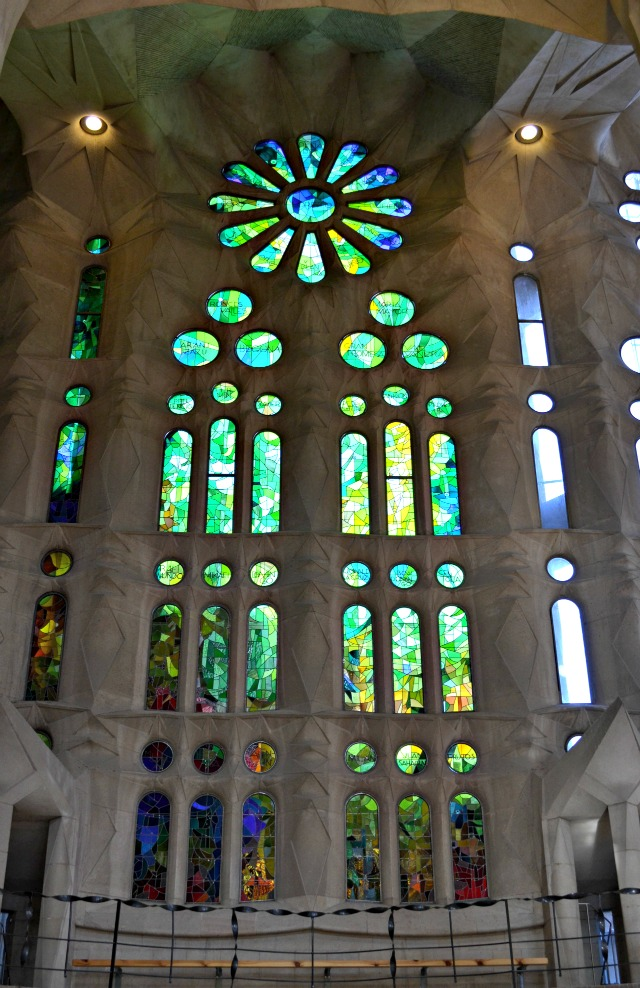 barcelona sagrada familia inside stain glass windows