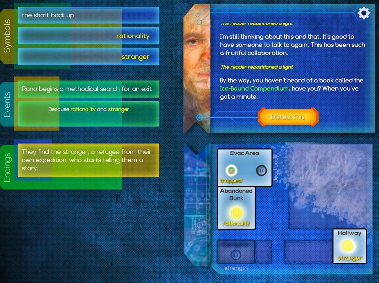 A screenshot of the interactive story in the IndieCade finalist iPad game Ice-Bound.