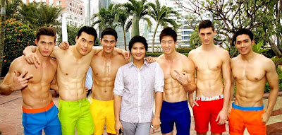 Mister International 2011 (in yellow green) beside June (yellow shorts) and other Manhunt International contestants