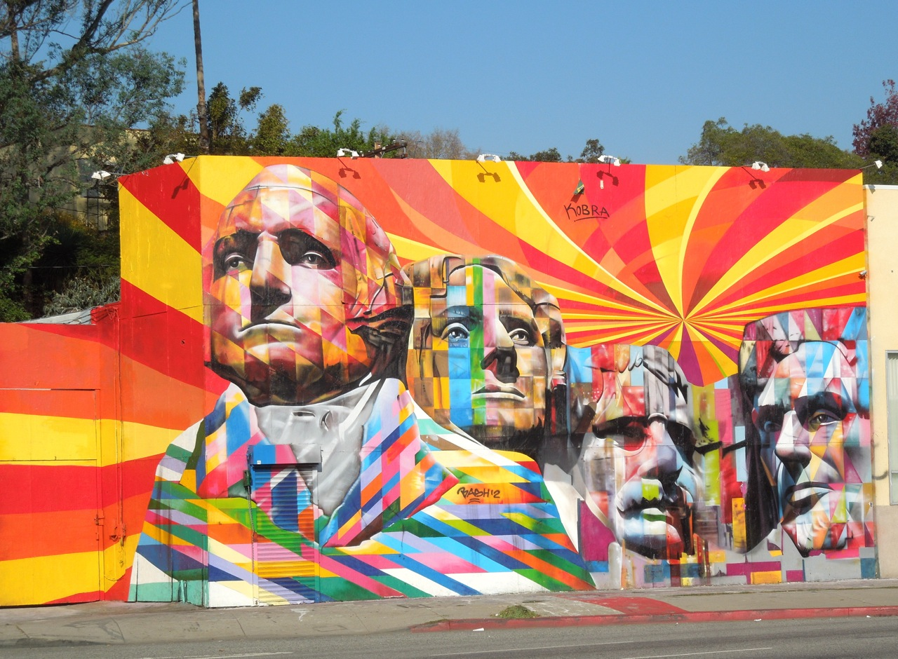 Eduardo kobra 39 s mount rushmore mural los angeles for Mural eduardo kobra
