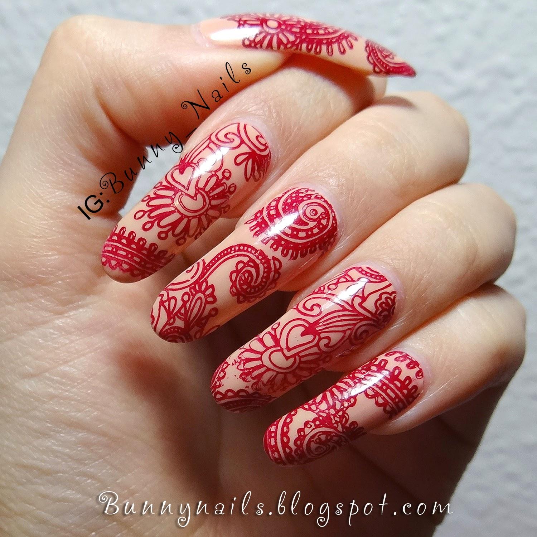Bunny Nails Henna Tattoo Inspired Nail Art