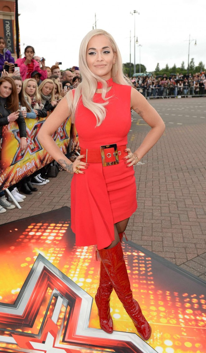 Rita Ora in a Versace mini dress at the X-Factor Manchester Auditions