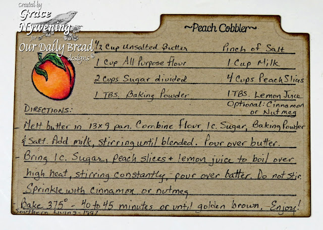 ODBD stamps: Garden Mini, Peaches, Recipe Card Lines, designed by Grace Nywening
