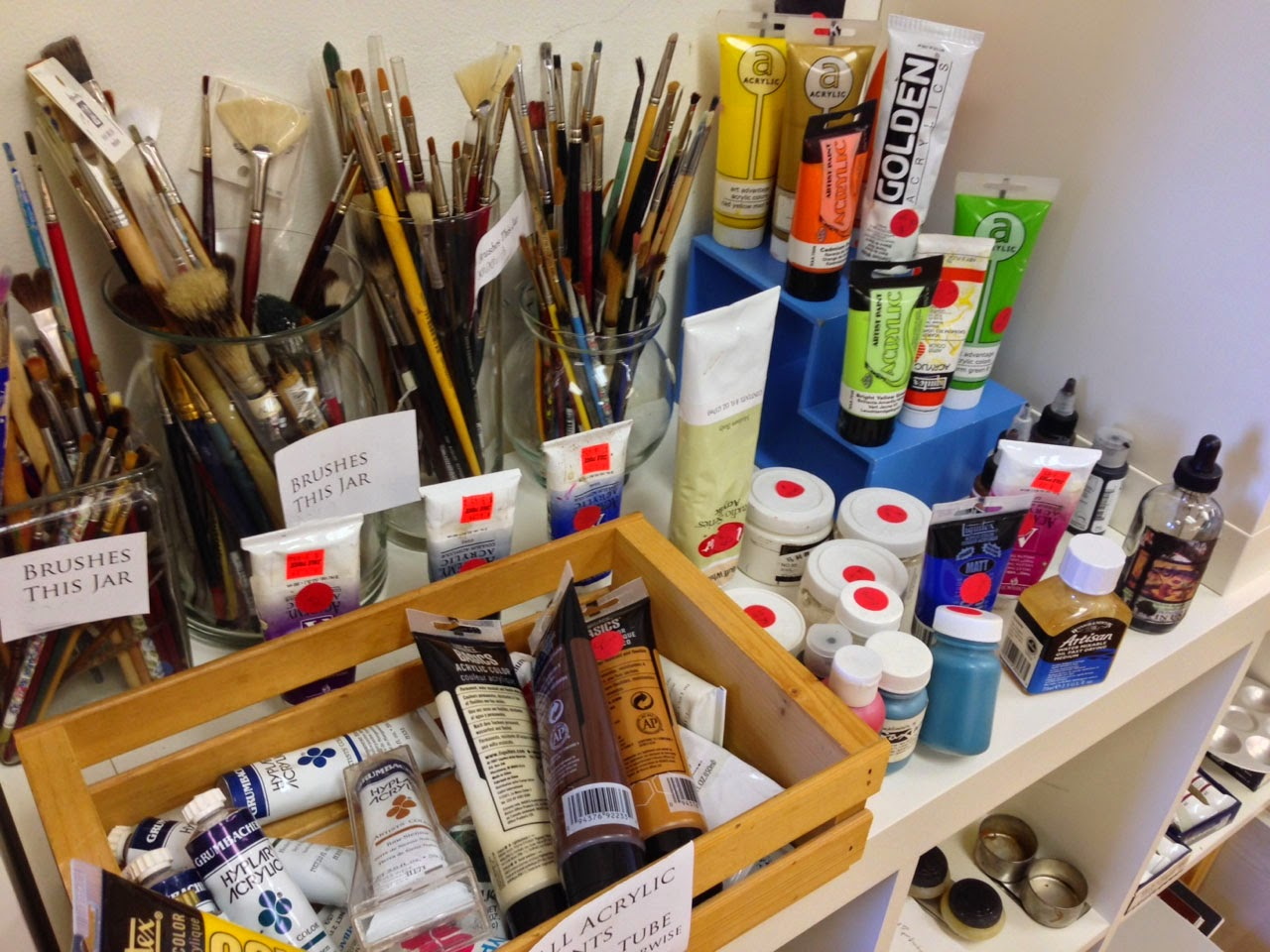 The basement community art studio for Where to donate craft supplies