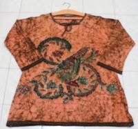 batik pekalongan atasan lengan panjang oranye