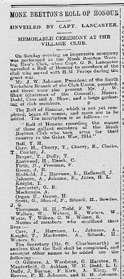 Part of a newspaper cutting listing the names of the members of Monk Bretton WMC who served in the First World War.