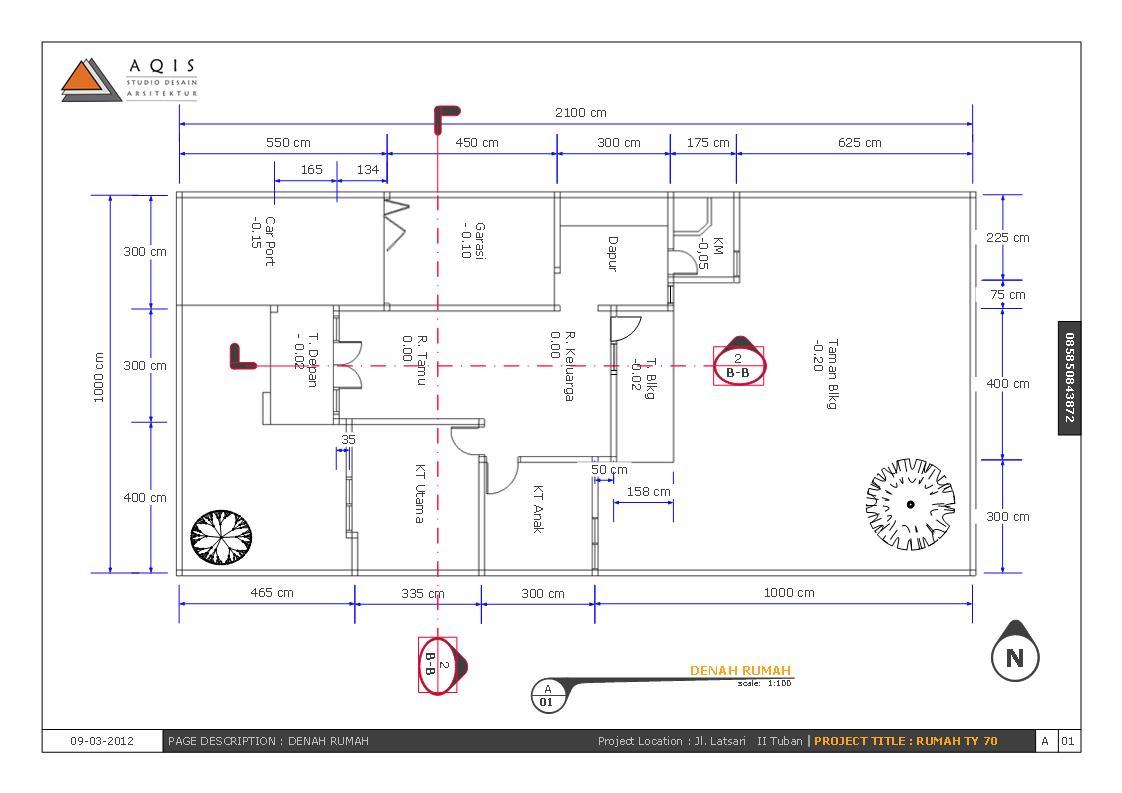 ... Rumah Online | Jasa Arsitek Online: Contoh Gambar Kerja Rumah Type 70