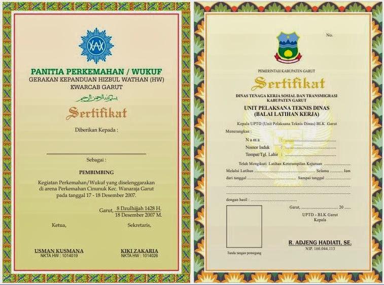 contoh-contoh desain sertifikat keren dan desain piagram penghargaan ...
