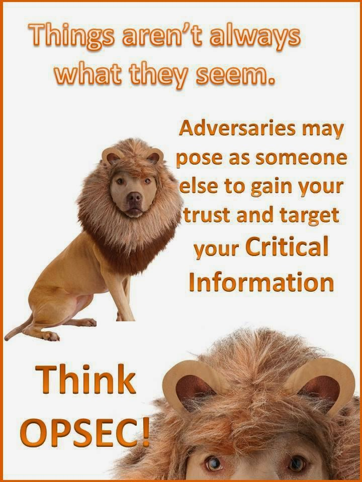 Things aren't always what they seem. Adversaries may pose as someone else to gain your trust and target your critical information