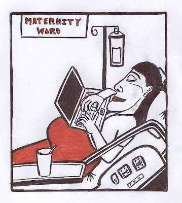 Drawing of woman in maternity ward, working on her laptop computer