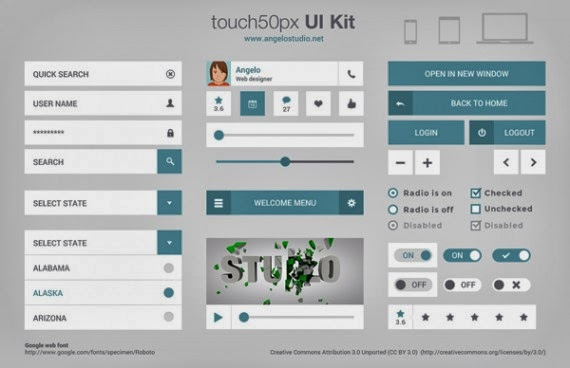 touch50px UI Kit (PSD)