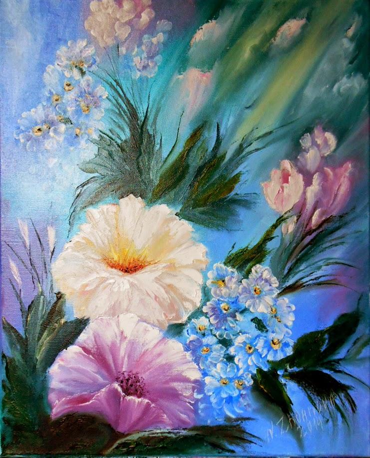 Картина цветов маслом на холсте Букет с Незабудками