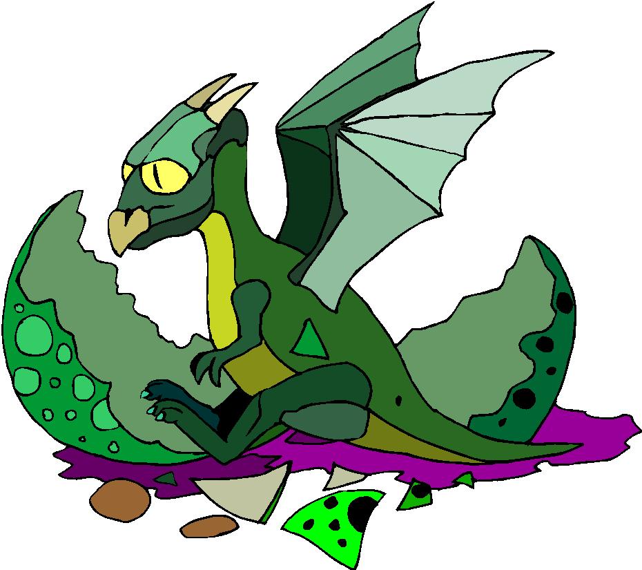 Green Dragon Baby Fantasy Clipart
