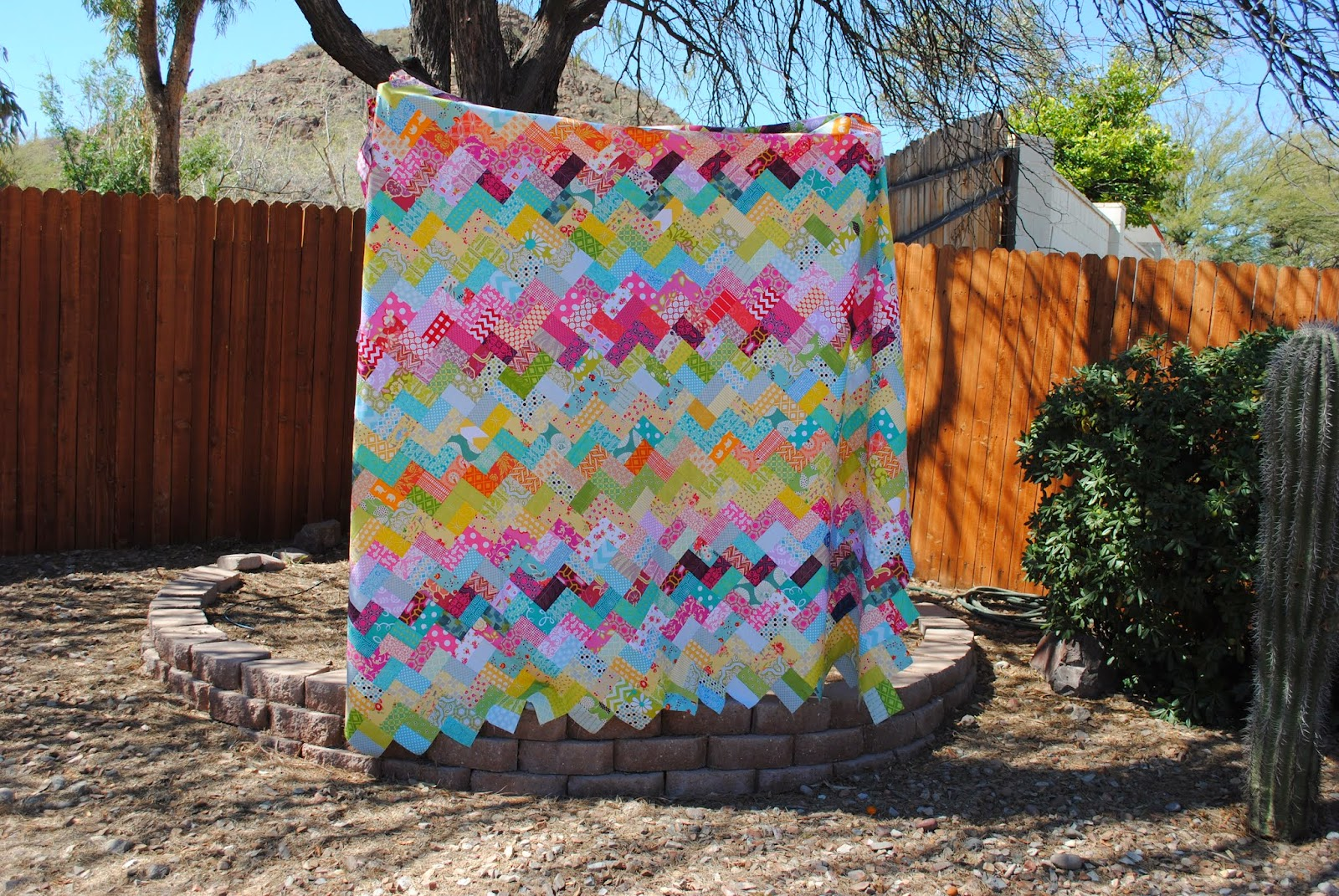 scrappy chevron quilt top
