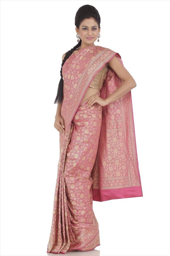 Sorbet Pink Satin Banarasi Saree