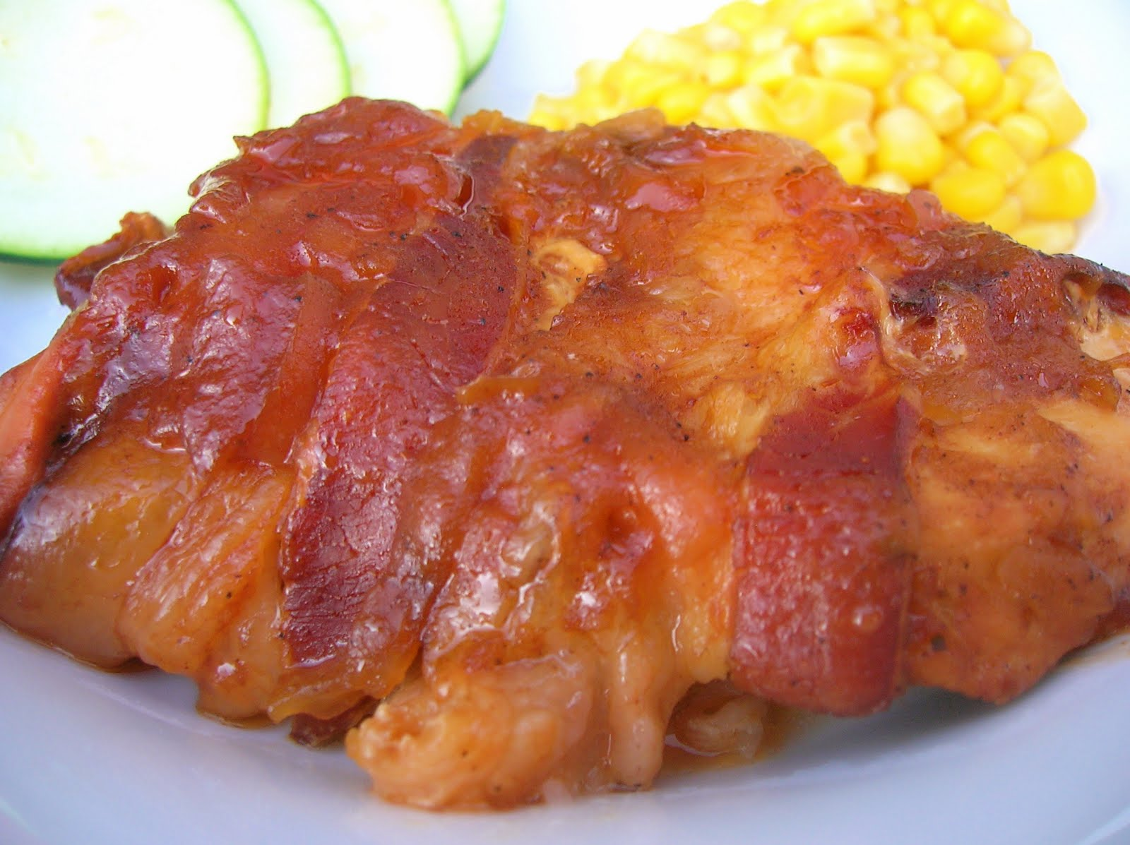 ... , or Pintastrophe?: Slow Cooker Bacon-Wrapped Apple BBQ Chicken