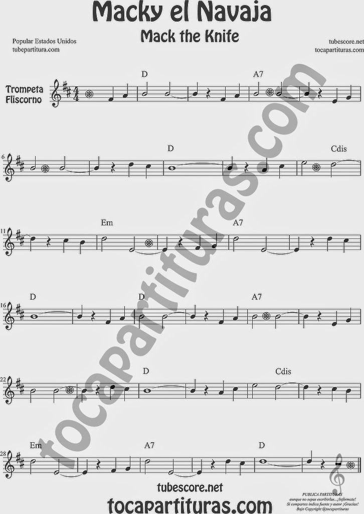 Macky el Navaja Partitura de Trompeta y Fliscorno Sheet Music for Trumpet and Flugelhorn Music Scores Mack the Knife Popular Estados Unidos de Kurt Weill