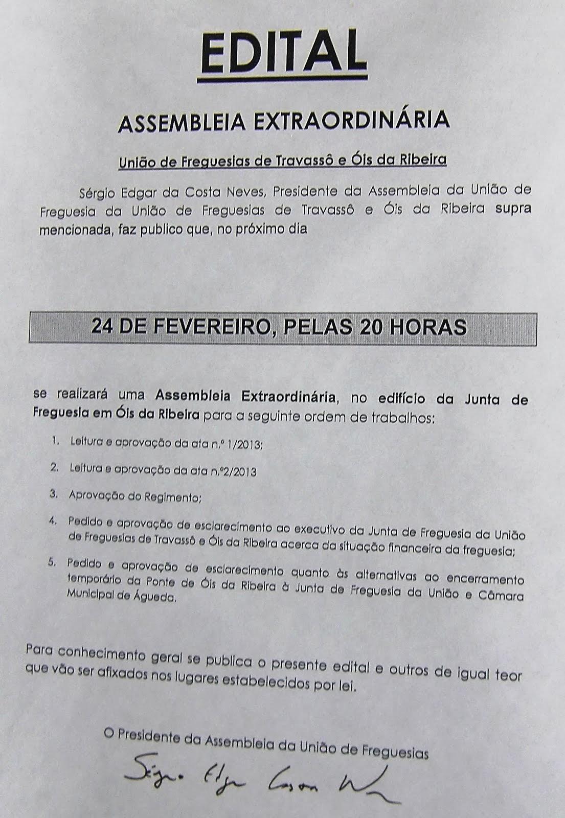 ASSEMBLEIA EXTRAORDINÁRIA DA ASSEMBLEIA DE FREGUESIA