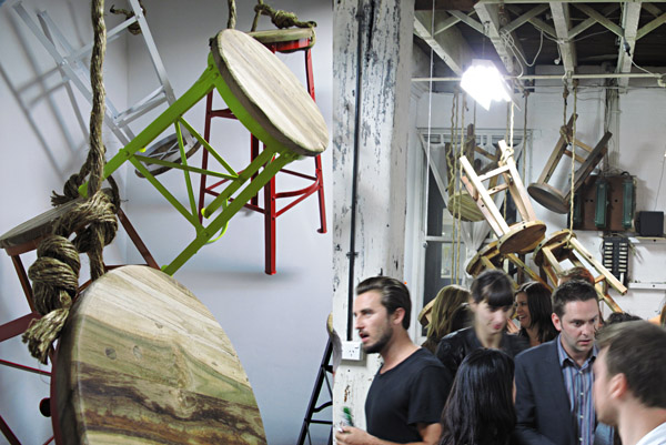 Gallery Crowd & Chairs suspended from rafters, Walk the Plank, China Heights gallery