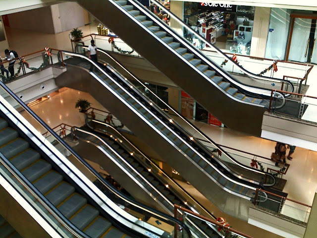 side view of escalators