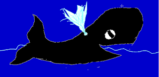 Picture of a big black whale drawn by Taiaha