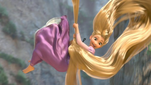 Rapunzel swinging from hair Tangled 2010 animatedfilmreviews.filminspector.com