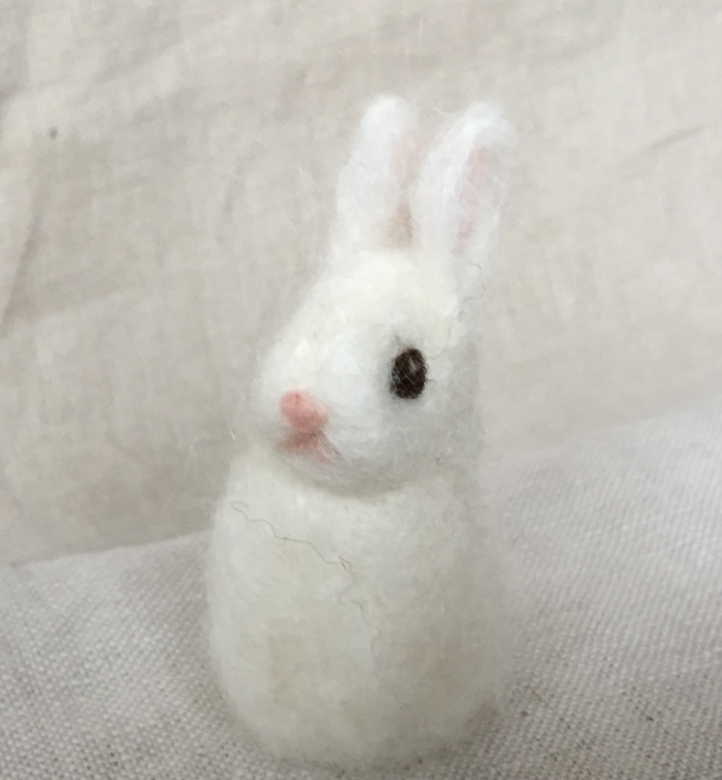 White wool bunny finger puppet