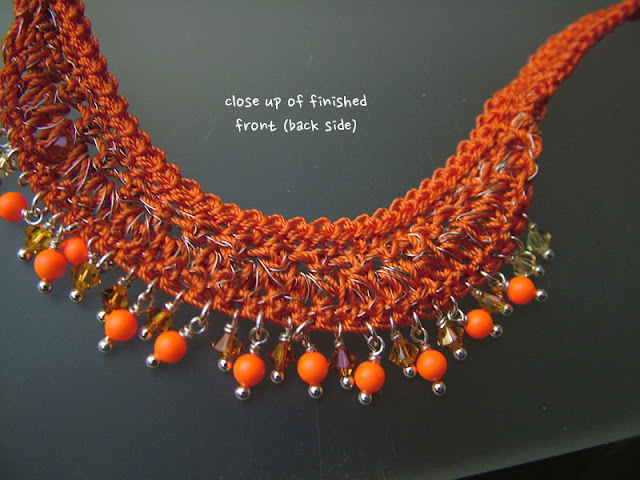 close up of finished wire crochet necklace - underside