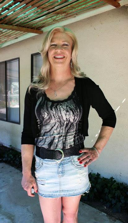My wife in mini skirt
