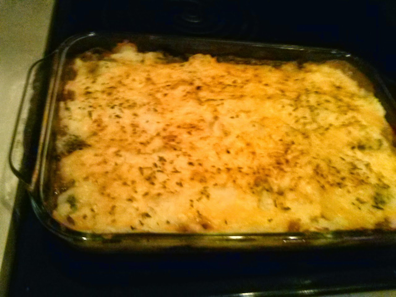 Homemade shepherds pie, baked, creamy goodness