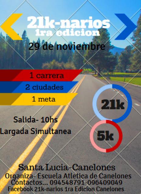 21-K Narios (Santa Lucía a Canelones; y 5K, 29/nov/2015)
