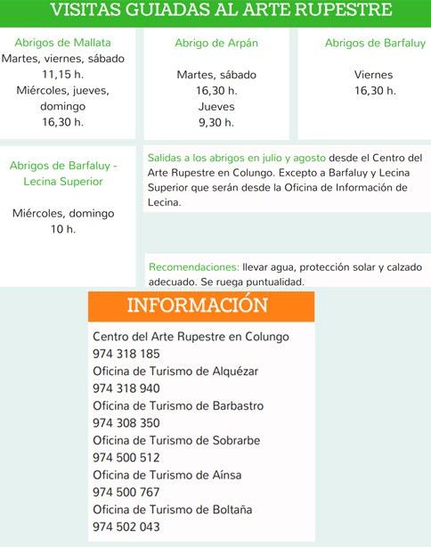 HORARIOS DEL ARTE RUPESTRE. VERANO 2017