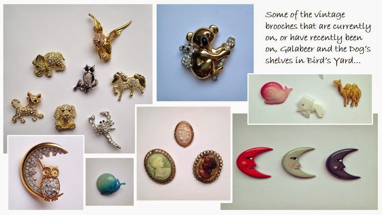 Vintage brooches from Galabeer and the Dog in Bird's Yard