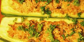 Calabacines rellenos de champiñones y tofu