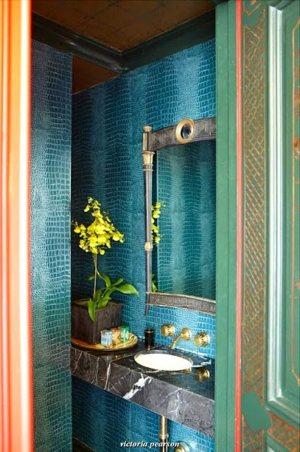 beautiful traditional style decor colorful blue powder room