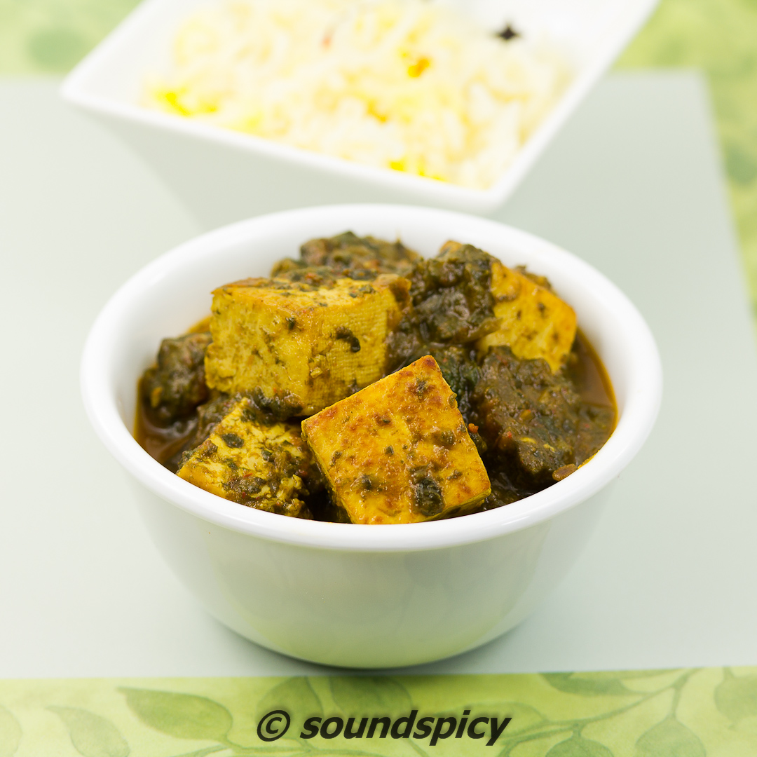 Palak Tofu / Saag Tofu, Tofu cooked in Curried Spinach, a healthy side ...