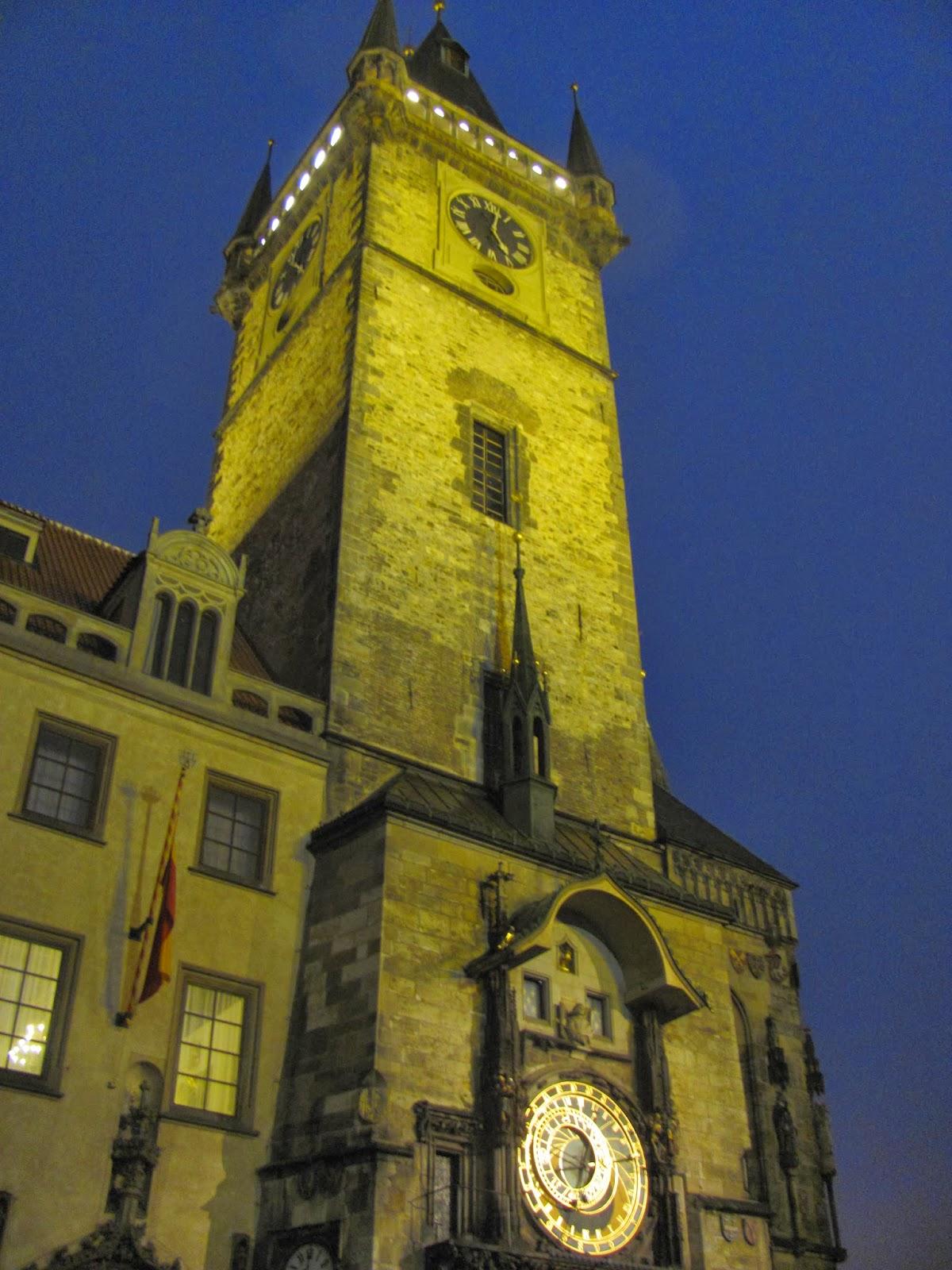Прага, ночная Прага, куранты, Чехия