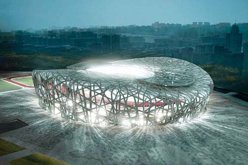 Beijing national stadium bird 39 s nest olympic stadium for Nest bird stadium